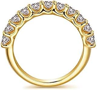 3mm 镀金纯银仿钻方晶锆石 CZ 半永恒婚戒,1.1 克拉