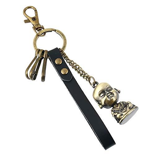 Llavero de cuero de bronce para regalo con colgante de bolsa de 2 piezas C-Y