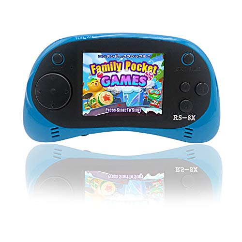 Kids Portable Handheld Game Console - RS-8X [Upgrade] 16 Bit HD Game Player Built-in 42 Games with 2.5 Inch LCD Screen Handheld Rechargeable Gaming System Best Gifts for Children & Family(Blue)