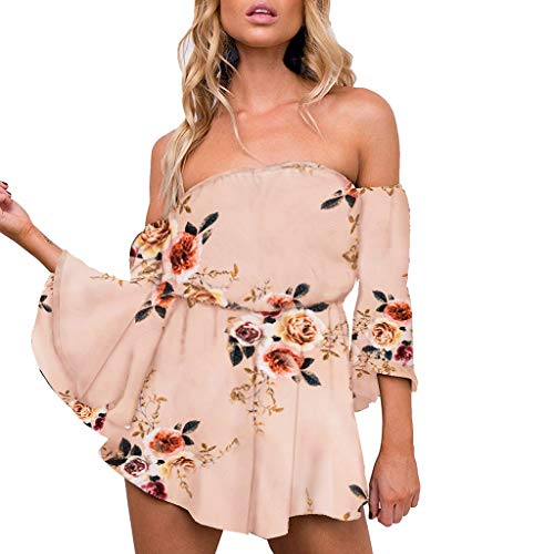 Purchase AgrinTol Women Summer Jumpsuits Floral Print Jumpsuits Flare Sleeve Off Shoulder Short Romp...