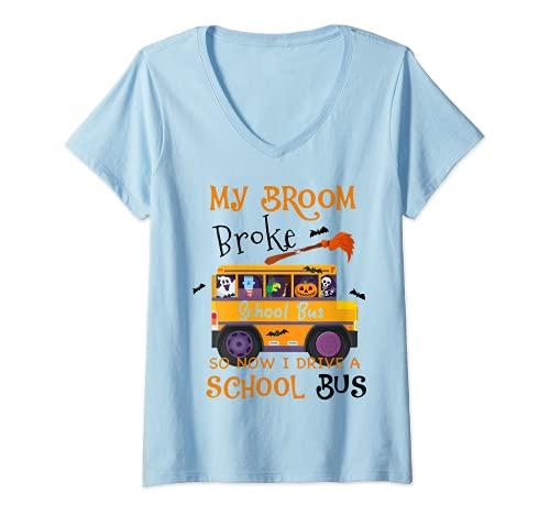 Mujer My Broom Broke - Regalo de chofer de la escuela de miedo Camiseta Cuello V
