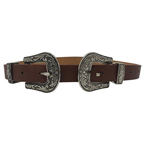 Live It Style It - Cintura da donna con doppia fibbia in finta pelle di alta qualità, stile occidentale Marrone e argento. Etichettalia unica
