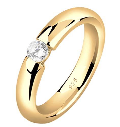 Nenalina Damen Silbering Spannring Verlobungsring vergoldet mit 4 mm weißem Cubic Zirkonia, 925 Sterling Silber, Farbe Gold, 0603530419_58