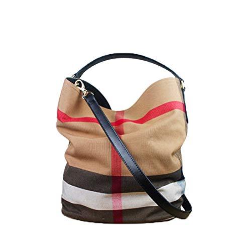 BORKE Mode Lässig Umhängetasche Damen Canvas Shopper Bucket Bag Gitter Gestreift Handtasche Grosse Kapazität Messenger Bag Outdoor Travel Schultertasche Beuteltasche Frauen (Schwarz)