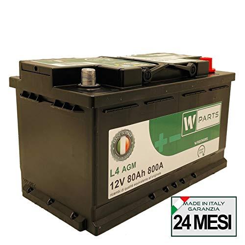 W-Parts Batteria Auto 80 Ah AGM - 800A Spunto | Start&Stop | 315x175x190 | 80Ah | VR800