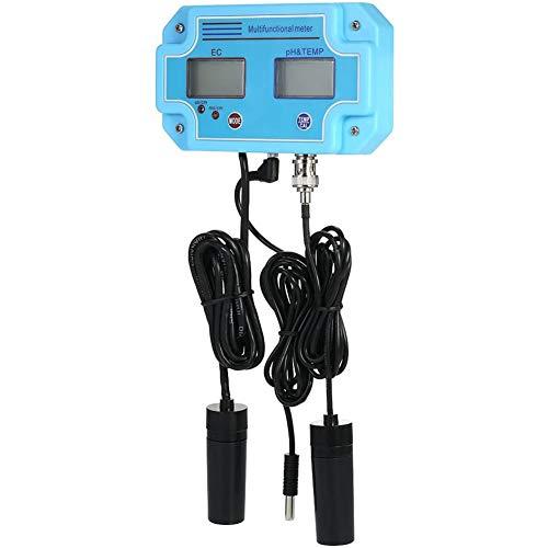 Qualité de l'eau testeur Professionnel 3 en 1 Ph/EC/Temp mètre [Moniteur de qualité de l'eau Multifonction Tri mètres LCD numérique multiparamétrique],Bleu