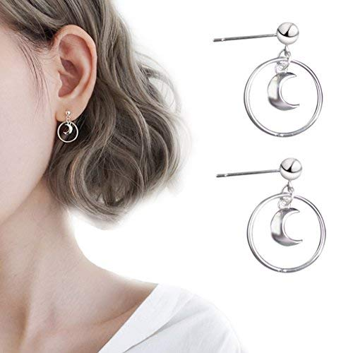 a15d3d767 Leiothrix Geometrical Hoop Moon Earrings Stud Chic Jewelry for Women and  Girls