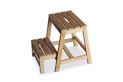 Preisvergleich Produktbild GartenDepot24 Stabiler Tritt Hocker aus Buchenholz mit 2 Stufen,  klappbar,  Natur,  B38 x T54 x H45 cm