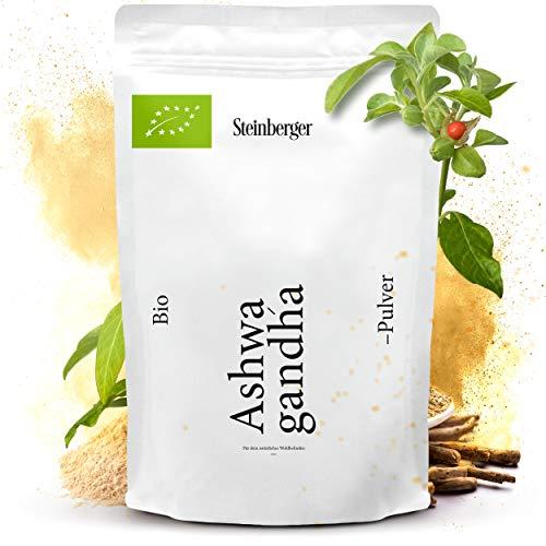 Ashwagandha Pulver bio 500g | Withania Somnifera gemahlen aus biologischem Anbau aus Indien | Standbodenbeutel mit Zippverschluss