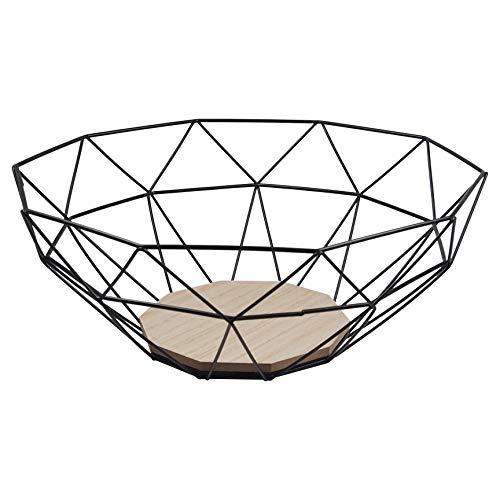 perla pd design Drahtkorb Obstkorb Metallkorb Deko Korb Aufbewahrung Küche Bad ca. Ø 30x12 cm schwarz
