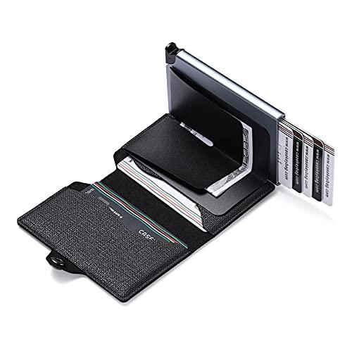 CeruleTree Soporte de tarjeta de crédito Bloqueo RFID,Slim Bank Card Cases automático Pop Up Card Wallet