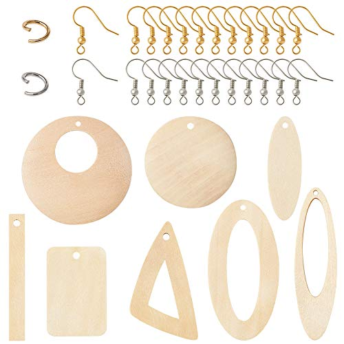 Wooden Earring Kit with 80pcs Unfinished Geometric Wooden Earring Pendant & French Earring Hooks & Display Cards Self-Seal Cellophane Bags for Earrings Jewelry DIY Craft Making