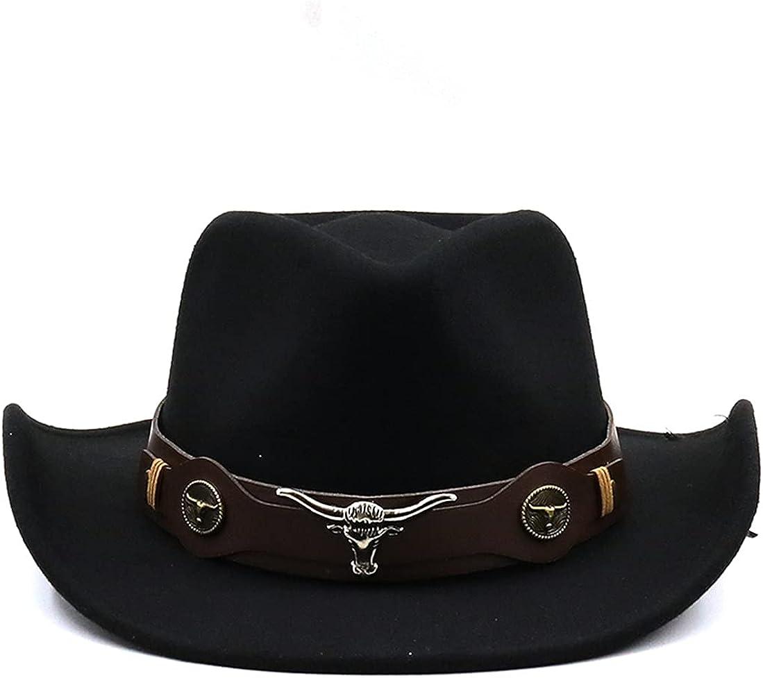 GEPIJPGEKH Women Men Western Cowboy Hat with Bull Skull Decor Belt Winter Autumn Jazz Sombrero Cap Wide Brim Fedoras