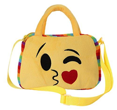 GEMVIE Bolso de Mano Niños Emoji Bolsa Escolar Viaje con Cremallera Corssbody 24.5×28cm Amarillo B