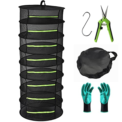 Herb Drying Rack 8 Layer Collapsible Mesh Hanging Drying Net with Zipper, Seropy 2ft Drying Rack with Garden Gloves, Pruning Scissors, Hook, for Drying Seeds, Herb, Bud, Hydroponic Plants 24'D x 63'H