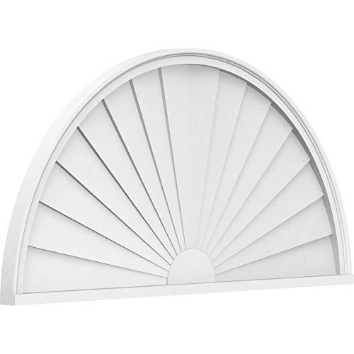 Ekena Millwork PEDPS034X170HRO01 Half Round Sunburst PVC Pediment, 34
