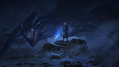 Slbtr DIY Digitale Malerei 40×50Cm - Game of Thrones Nachtkönig Und Drache-100% Handgemaltes Ölgemälde Auf Leinwand Puzzle,Grundlegende Zeichenübungen Für Anfänger - Rahmenlos