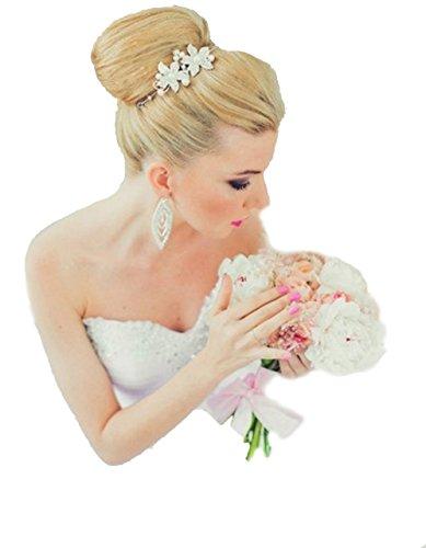 Unbekannt Diadem Tiara Blumen Perlen Strass Braut Haarschmuck Blumen Blüten Braut Hochzeit