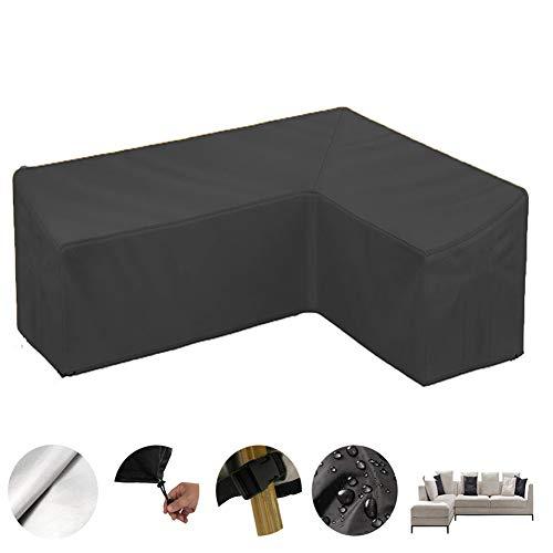 Funda para Muebles Terraza Impermeable, Tipo V Sofá Muebles Jardín De Cubierta, 210D Oxford contra Polvo Funda De Sofá Al Aire Libre, para Sofa De Esquina De Jardín,250x250x78cm/8.2x8.2x2.5ft