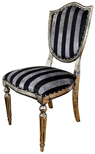Casa Padrino Art Deco Esszimmer Stuhl Schwarz Silber Streifen/Antik Stil Silber 52,5 x 59 x H. 104 cm Hotel Möbel