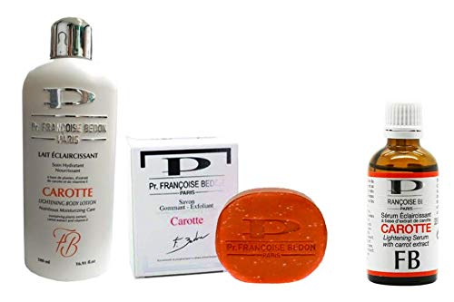 Pr. Francoise Bedon Lightening Carot Milk 500 ml, Lighting serum/brightening serum/whitening serum/carrot serum, PR. FRANCOISE BEDON Carotte Puissance Scrub Expoia Ting Soap