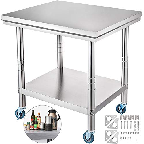 Mophorn Stainless Steel Work Table with Wheels 24 x 30 Prep Table with casters Heavy Duty Work Table for Commercial Kitchen Restaurant Business (24 x 30 x 32 Inch)