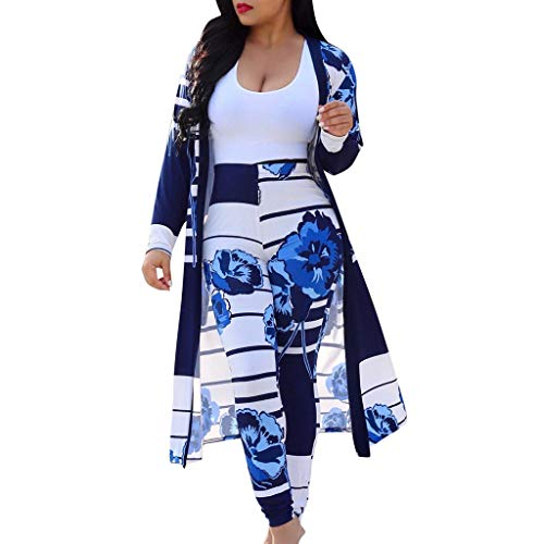 Women 2 Piece Outfits - Floral Print Long Sleeve Open Front Cardigan Cover Up Bodycon High Waisted Long Pants Set Blue