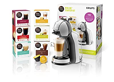 Nescafé Dolce Gusto KP123B41 Mini-Me Automatic Coffee Machine Grey and Black by KRUPS-'Starter Kit' Dolce Gusto, 1500 W, Arctic Grey & Black