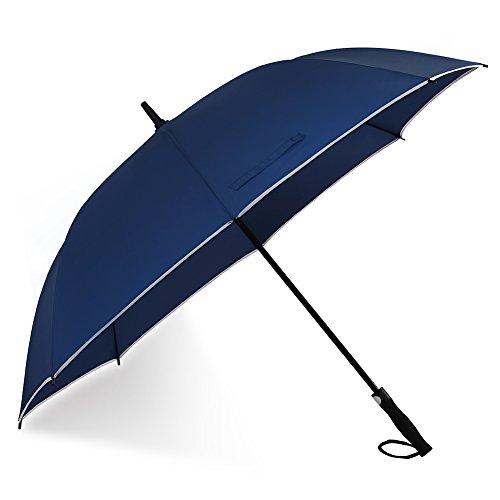 Ombrello da golf oversize 157,5 cm baldacchino con striscia catarifrangente antipioggia e antivento impermeabile bastone ombrello automatico Open extra large Big dritto ombrelli(blu navy)