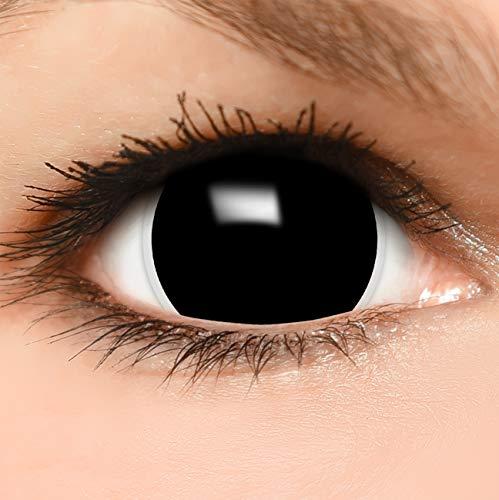 Funzera® Mini Sclera Lenti a contatto colorate'Black' con portalenti - non corrette, in confezione da due: comode da indossare e ideali per Halloween o Carnevale
