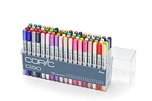 COPIC Ciao Marker Set B mit 72 Farben, Allround Layoutmarker, alkoholbasiert, im praktischen Acryl-Display zur Aufbewahrung und einfachen Entnahme