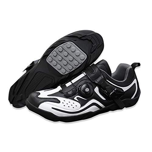 LFANH Zapatos de ciclismo para hombre y mujer, zapatos de ciclismo de montaña, para deportes de interior, transpirables, estables y cómodos, zapatos deportivos, color negro, 3.5UK