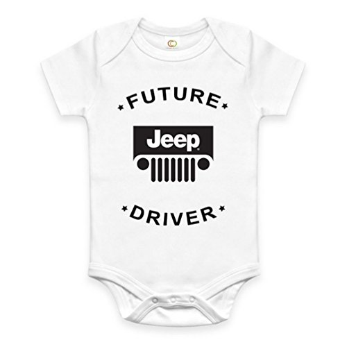 Rare New Future Jeep 4WD Driver Funny Baby Clothes Cute Unisex Bodysuit Onesie Short Sleeve Romper One Piece Prime Outfits with Sayings Body Bébé (3-6 Mois)
