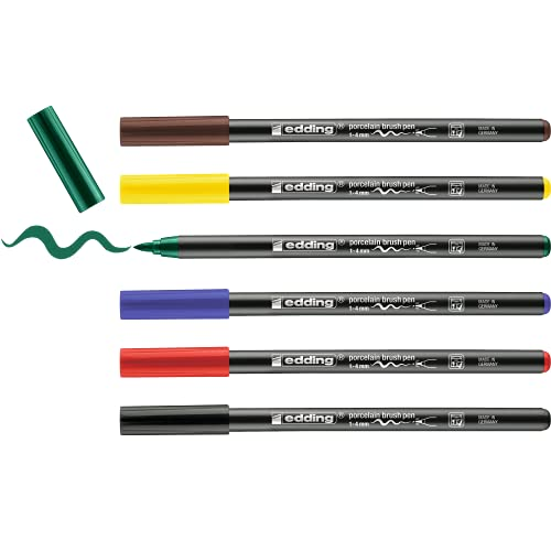 Edding 4200 rotulador con punta de pincel para porcelana - multicolor - 6 rotuladores - punta de pincel de 1-4 mm - pintar y decorar cerámica - tinta resistente a la luz y lavavajillas, secado rápido
