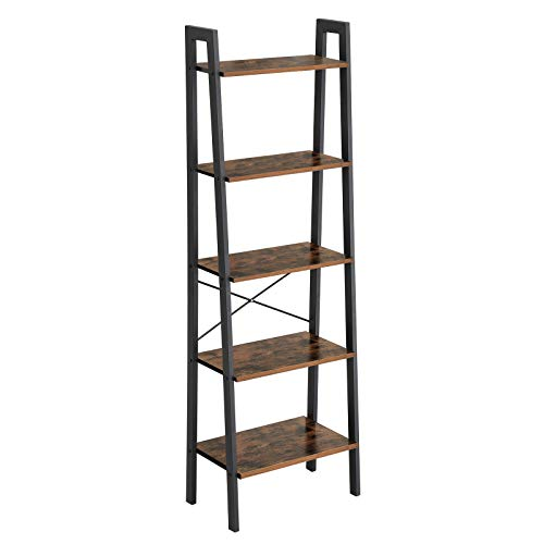 VASAGLE Industrial Ladder Shelf, 5-Tier Bookshelf, Bookcase and Storage Rack, Wood Look Accent Furniture with Metal Frame, for Home Office, Rustic Brown ULLS45X, 22.1' L x 13.3' W x 67.7' H