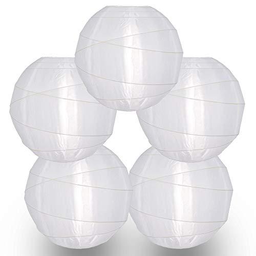 Quasimoon PaperLanternStore.com (paquete de 5) 35,56 cm Irregular de nailon blanco, duradero, decoración colgante