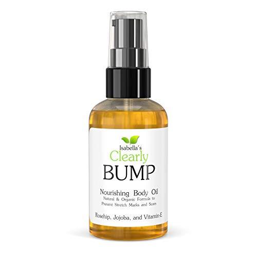 Clearly BUMP, l'huile naturelle et organique pour prévenir, estomper, minimiser les vergetures et les cicatrices. Hydratant ventre femme enceinte à la rose musquée, vitamine E, jojoba, néroli, citron.