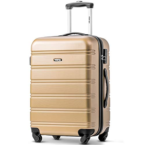 Suitcase Travel Luggage Locks Hard Shell Lightweight 4 Wheel Suitcas (24', Golden)