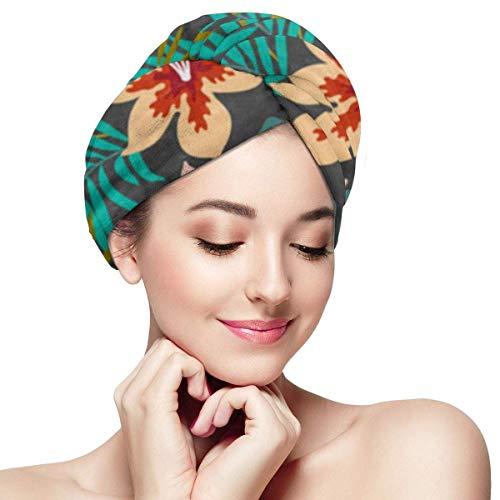 XBFHG Enveloppes De Serviette De Cheveux en Microfibre pour Les FemmesCapuchon De Cheveux Secs Rapides avec Bouton - Fleurs Tropicales Exotiques Et Feuilles De Palmier sur Botanique Gris Foncé