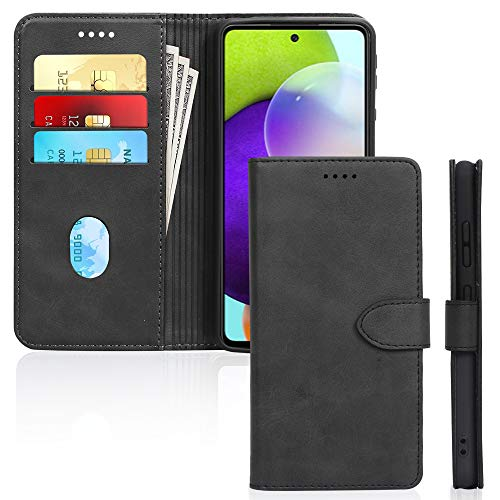 Skycase Samsung Galaxy A52 5G Case,Samsung A52 Wallet Case, Handmade Flip Folio Wallet Case Cover with Credit Card Slots and Kickstand Function for Galaxy A52 2021,Black