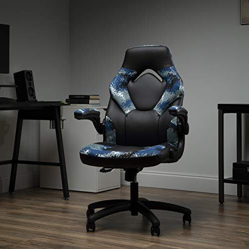 OFM ESS Collection Bonded Leather Gaming Chair, Racing Style, Arctic Camo