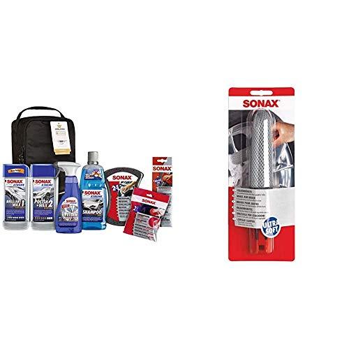 SONAX Xtreme Autopflege Set inkl. Tasche (8-teilig); Autoreinigungs- und Pflegeset für den Fahrzeug-Außenbereich & FelgenBürste Ultra-Soft mit Microfaserüberzug zur unterstützenden Felgenreinigung