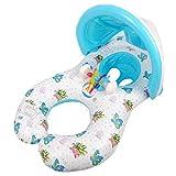 Mysida Inflatable Pool float Flotador Inflable for Piscina de natación for Madre y bebé, Anillo de natación for bebé con toldo extraíble Sombrilla Asiento de Agua for niños (0-3 años)