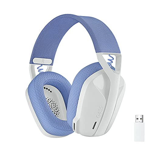 Logitech G435 Auriculares Inalámbricos LIGHTSPEED para Gaming - Ligeros, micrófono integrado, Batería de 18 horas, Compatibles con Dolby Atmos, Bluetooth, PC, PS4, PS5, Móvil - Blanco
