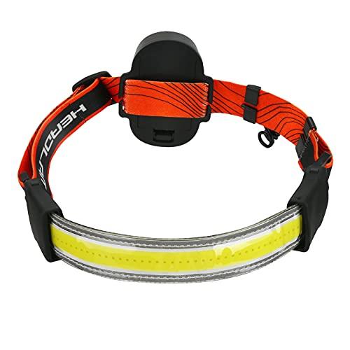 Linterna frontal de haz amplio, zootop 2000 lúmenes COB brillante lámpara de cabeza LED, funciona con pilas, ultraligera con 3 modos de luz para pesca, correr y acampar