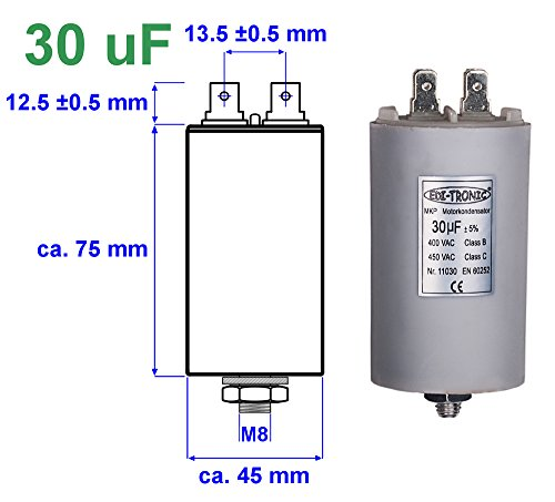 EDI-TRONIC condensatore di avviamento per motore, 30µF 450V presa M8 con connettore piatto 6,3mm