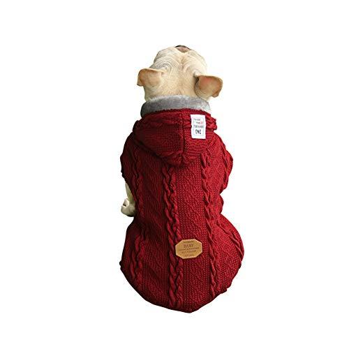 BinetGo Hundepullover aus Fleece für Hunde, Winterkleidung, Haustier-Kleidung, gestrickt, für Hunde und Katzen, Schlafanzug, warme Kleidung, Welpen-Sweatshirt mit Fleece-Futter (groß, rot)