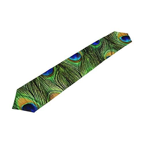 Bennigiry coloré Plumes de Paon Chemin de Table Rectangle Polyester Chemin de Table Décoration de Table (33cmx177 cm) 13x90(in) Multicolore