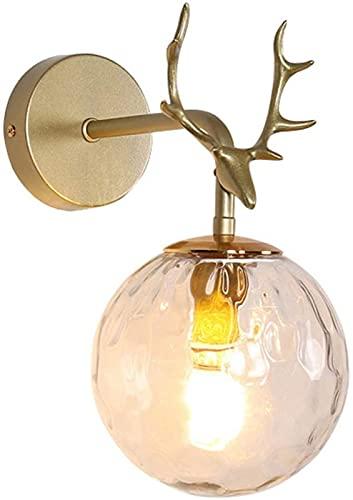 JeeKoudy Aplique de Pared Lámpara de Pared Moderna de Interior LED Apliques de Pared Simples E14 Base Cabeza de Ciervo Estilo nórdico Hierro Art Deco Creativo para Dormitorio Sala de Estar Childre