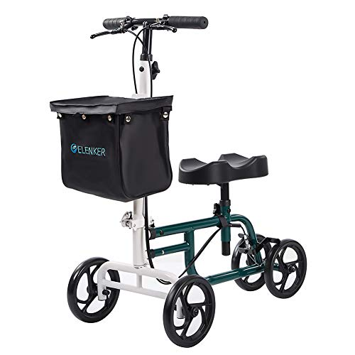 ELENKER Best Value Knee Walker Steerable Medical Scooter Crutch Alternative with Dual Braking System Black